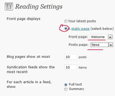 WordPress Reading settings to choose a static page