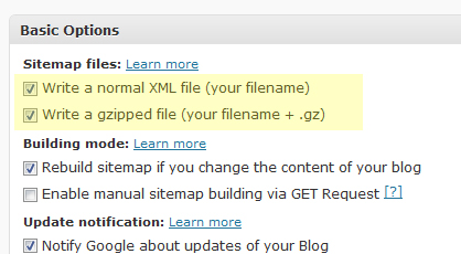 default wordpress sitemap setting