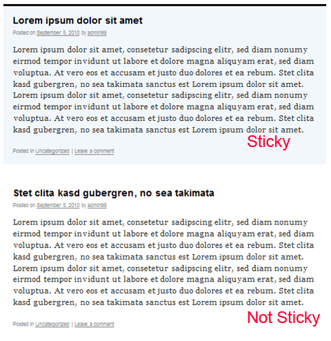 Sticky and Non-sticky difference.
