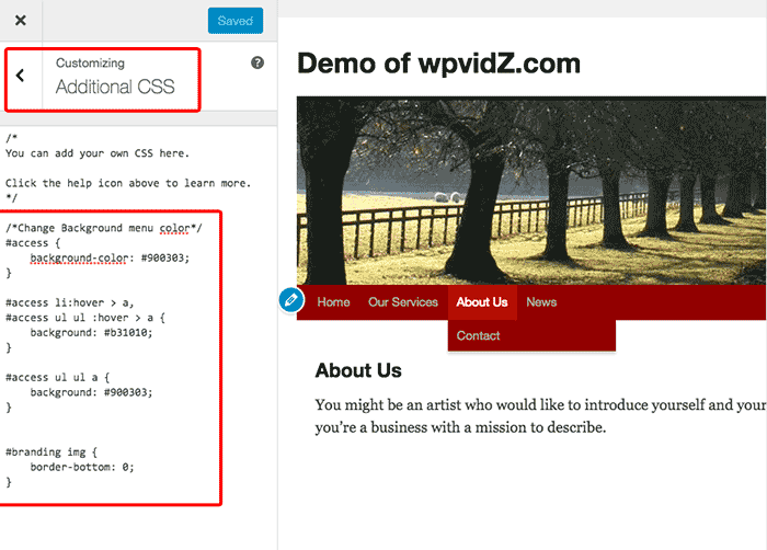 If you use WordPress 4.7 or newer, you can use Additional CSS to change the background menu color