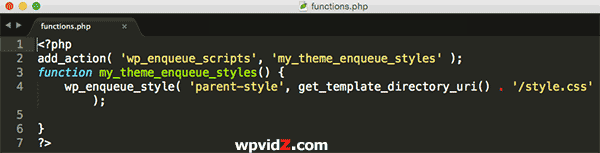The Child's functions php