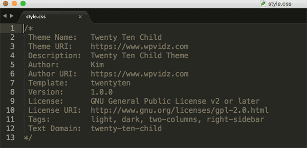 style.css of Twenty Ten Child