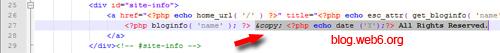 wordpress copyright footer code