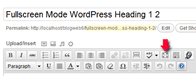 fullscreen mode wordpress