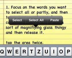 how to select text on iphone