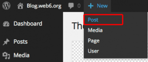 New, Post button in your dashboard.