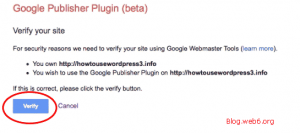 Verify your site with Google Publisher plugin