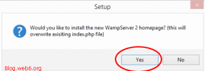 Would you like to install the new WampServer 2 homepage