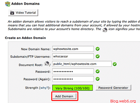 Type in the data of the Domain
