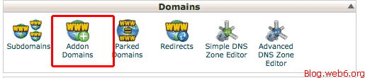 Click Addon Domains icon