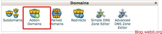 Click Addon Domains icon