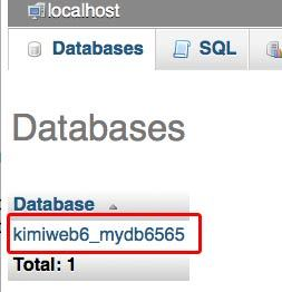 "Database name on ""Databases"" tab"