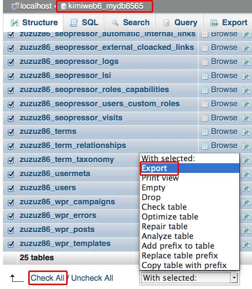 export WordPress database using phpMyAdmin