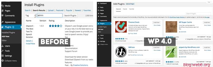 "Plugin page new look after you click ""Add New"""