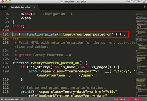 The function inside template-tags.php