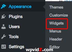 Appearance and then widget in your dashboard