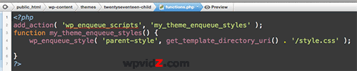 Codes inside functions.php of the child theme