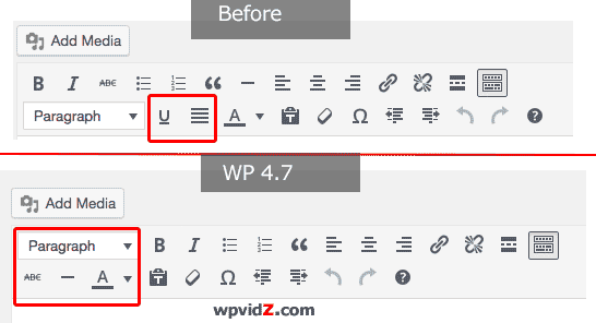 Heading, Paragraph move up, underline and justify icon are removed