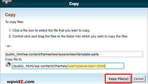 Copy the file to the child theme's folder