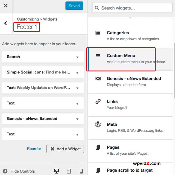 Adding Custom Menu in your widgetized footer