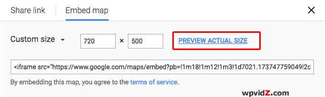 Custom size Google maps