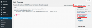 How functions.php of your current active theme looks like
