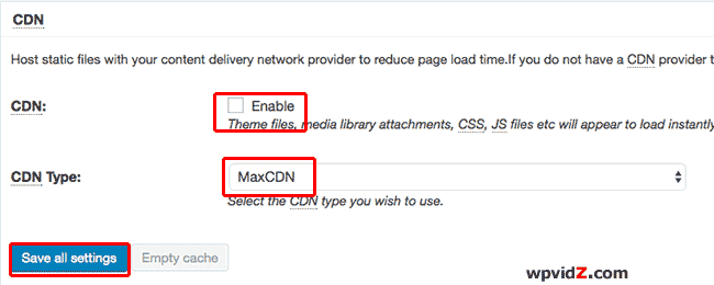 Enabling CDN using W3TC plugin
