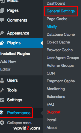 Performance - General Settings for W3 Total Cache plugin