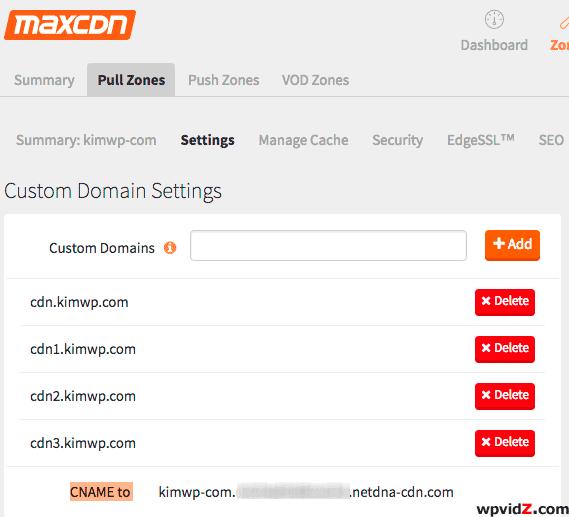 Pull Zones custom domain setting