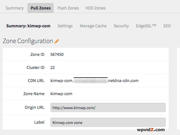 Zone configuration that has CDN URL